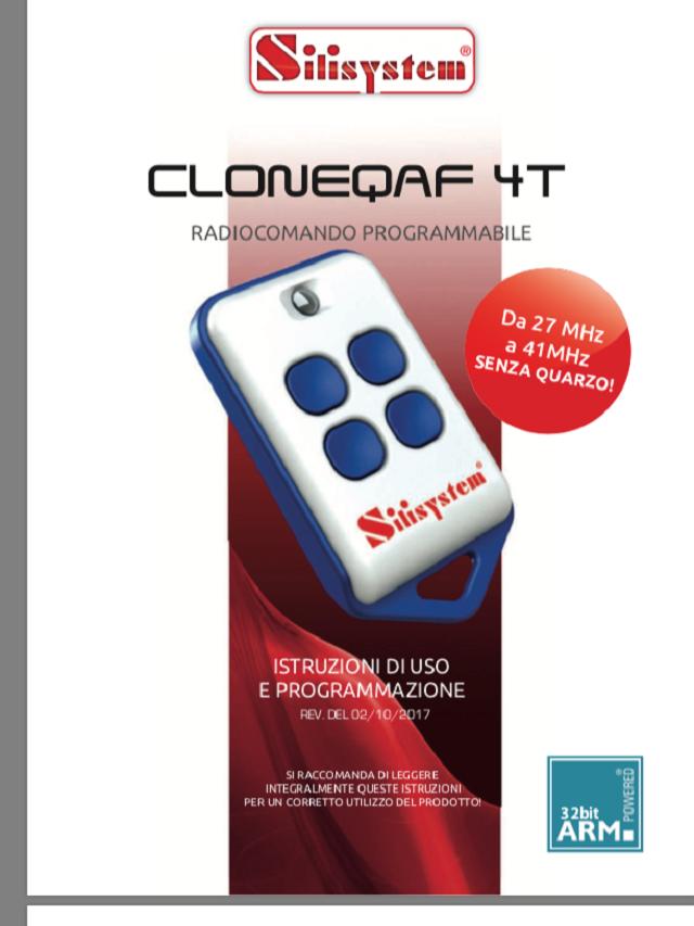 Radiocomando programmabile CLONEQAF 4T (la potenza del quarzo senza il quarzo)